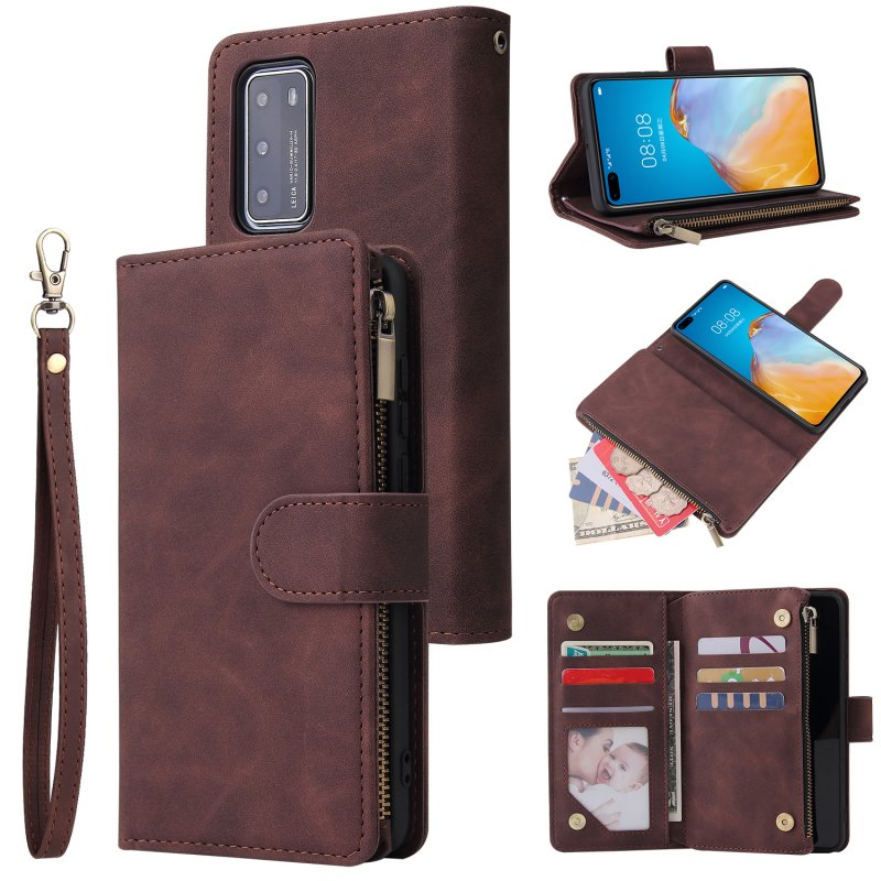 For HUAWEI P40 Case Smartphone Shell Wallet Design Zipper Closure Overall Protection Cellphone Cover  3 brown
