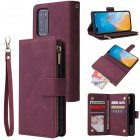 For HUAWEI P40 Case Smartphone Shell Wallet Design Zipper Closure Overall Protection Cellphone Cover  5 wine red