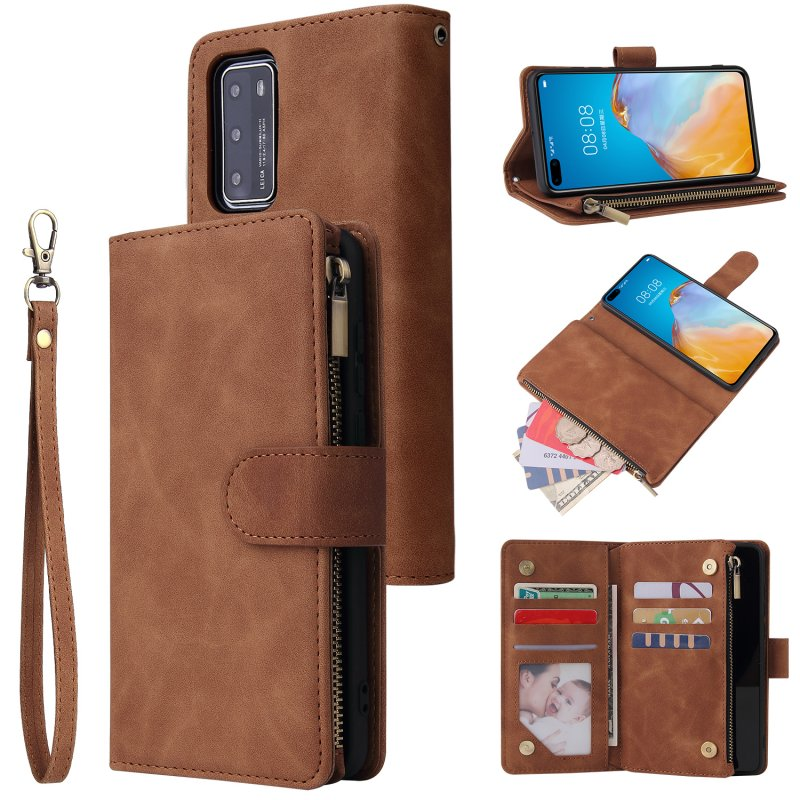 For HUAWEI P40 Case Smartphone Shell Wallet Design Zipper Closure Overall Protection Cellphone Cover  4 brown