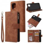 For HUAWEI P40 Lite Leather Mobile Phone Cover with Zipper Purse Cards Slot Phone Bracket 4 brown
