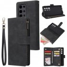 For HUAWEI P40 pro plus Zipper Purse Leather Mobile Phone Cover with Cards Slot Phone Bracket 1 black