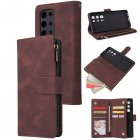 For <span style='color:#F7840C'>HUAWEI</span> <span style='color:#F7840C'>P40</span> <span style='color:#F7840C'>pro</span> plus Zipper Purse Leather Mobile Phone Cover with Cards Slot Phone Bracket 3 brown