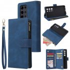 For <span style='color:#F7840C'>HUAWEI</span> <span style='color:#F7840C'>P40</span> <span style='color:#F7840C'>pro</span> plus Zipper Purse Leather Mobile Phone Cover with Cards Slot Phone Bracket 2 blue