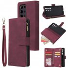 For <span style='color:#F7840C'>HUAWEI</span> <span style='color:#F7840C'>P40</span> <span style='color:#F7840C'>pro</span> plus Zipper Purse Leather Mobile Phone Cover with Cards Slot Phone Bracket 5 wine red