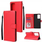 For HUAWEI PSmart 2020 Y5P Y6P PU Leather Mobile Phone Cover with 3 Cards Slots Phone Frame red