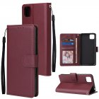 For HUAWEI PSmart 2020 Y5P Y6P PU Leather Mobile Phone Cover with 3 Cards Slots Phone Frame Red wine