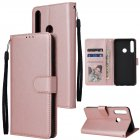 For HUAWEI PSmart 2020 Y5P Y6P PU Leather Mobile Phone Cover with 3 Cards Slots Phone Frame Rose gold