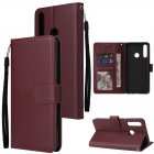 For HUAWEI PSmart 2020/Y5P/Y6P PU Leather Mobile Phone Cover with 3 Cards Slots Phone Frame Red wine