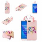 For HUAWEI Y5 2018 3D Cute Coloured Painted Animal TPU Anti-scratch Non-slip Protective Cover Back Case Light pink