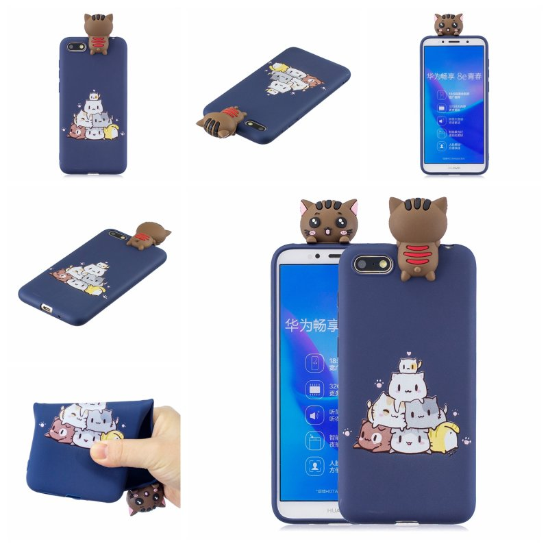 For HUAWEI Y5 2018 3D Cute Coloured Painted Animal TPU Anti-scratch Non-slip Protective Cover Back Case sapphire