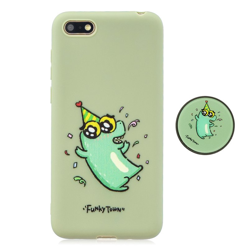 For HUAWEI Y5 2018 Pure Color Phone Cover Cute Cartoon Phone Case Lightweight Soft TPU Full Cover Phone Case with Matching Pattern Adjustable Bracket 2