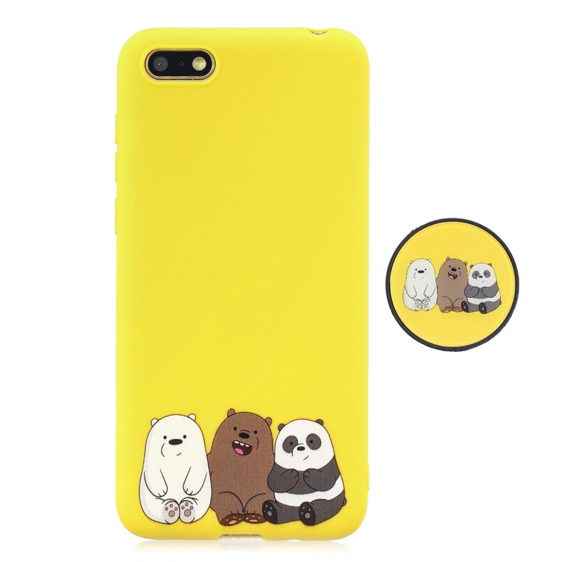 For HUAWEI Y5 2018 Pure Color Phone Cover Cute Cartoon Phone Case Lightweight Soft TPU Full Cover Phone Case with Matching Pattern Adjustable Bracket 7