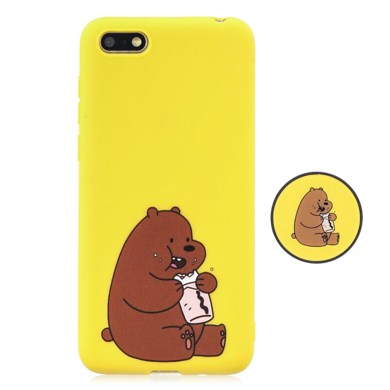 For HUAWEI Y5 2018 Pure Color Phone Cover Cute Cartoon Phone Case Lightweight Soft TPU Full Cover Phone Case with Matching Pattern Adjustable Bracket 8