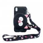 For HUAWEI Y5 2018/Y5 2019 Cellphone Case Mobile Phone Shell Shockproof TPU Cover with Cartoon Cat Pig Panda Coin Purse Lovely Shoulder Starp  Black