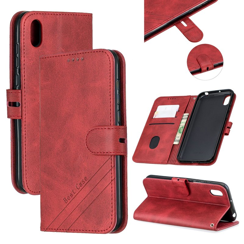For HUAWEI Y5 2019 Denim Pattern Solid Color Flip Wallet PU Leather Protective Phone Case with Buckle & Bracket red