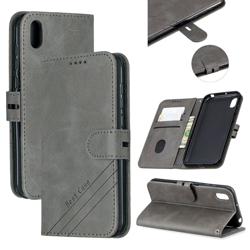 For HUAWEI Y5 2019 Denim Pattern Solid Color Flip Wallet PU Leather Protective Phone Case with Buckle & Bracket gray