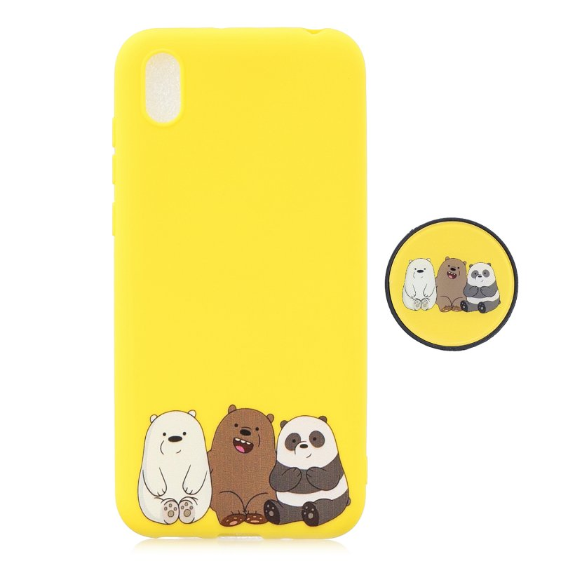 For HUAWEI Y5 2019  Lightweight Soft TPU Phone Case Pure Color Phone Cover Cute Cartoon Phone Case with Matching Pattern Adjustable Bracket 7