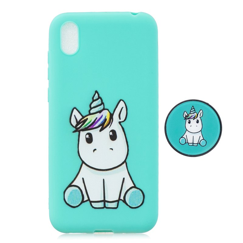 For HUAWEI Y5 2019  Lightweight Soft TPU Phone Case Pure Color Phone Cover Cute Cartoon Phone Case with Matching Pattern Adjustable Bracket 5