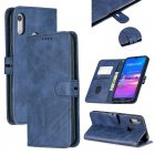 For HUAWEI Y6 2019 Denim Pattern Solid Color Flip Wallet PU Leather Protective Phone Case with Buckle   Bracket blue