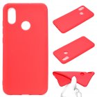 For HUAWEI Y6 2019 Lovely Candy Color Matte TPU Anti-scratch Non-slip Protective Cover Back Case red