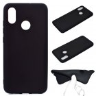 For HUAWEI Y6 2019 Lovely Candy Color Matte TPU Anti-scratch Non-slip Protective Cover Back Case black