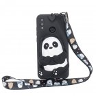 For HUAWEI Y6 2019 Y7 2019 Y9 2019 Cartoon Full Protective TPU Mobile Phone Cover with Mini Coin Purse+Cartoon Hanging Lanyard 5 black striped bears