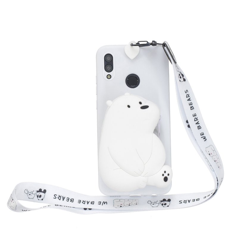 For HUAWEI Y6 2019 Y7 2019 Y9 2019 Cartoon Full Protective TPU Mobile Phone Cover with Mini Coin Purse+Cartoon Hanging Lanyard 6 white big bear