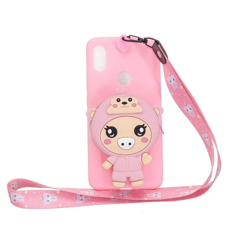 For HUAWEI Y6 2019 Y7 2019 Y9 2019 Cartoon Full Protective TPU Mobile Phone Cover with Mini Coin Purse+Cartoon Hanging Lanyard 3 deep pink piglets