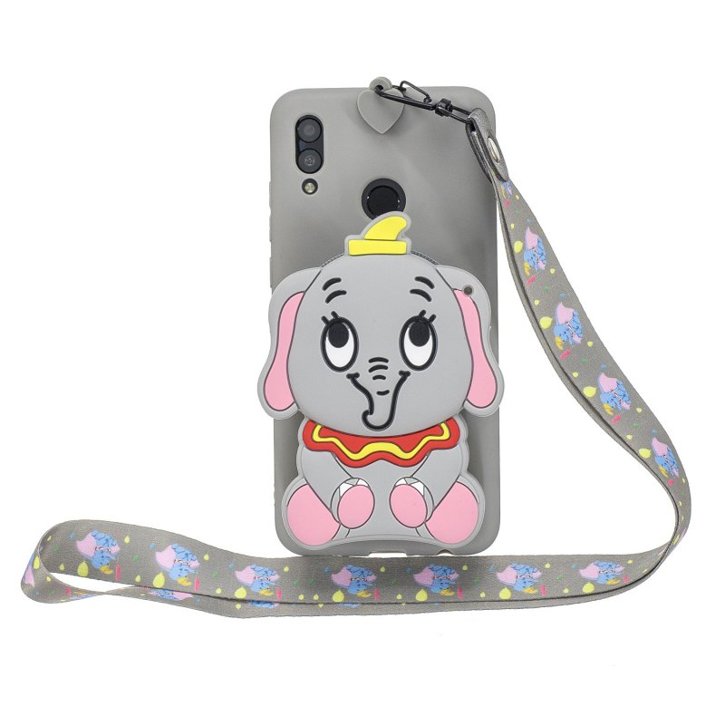 For HUAWEI Y6 2019 Y7 2019 Y9 2019 Cartoon Full Protective TPU Mobile Phone Cover with Mini Coin Purse+Cartoon Hanging Lanyard 8 grey elephant