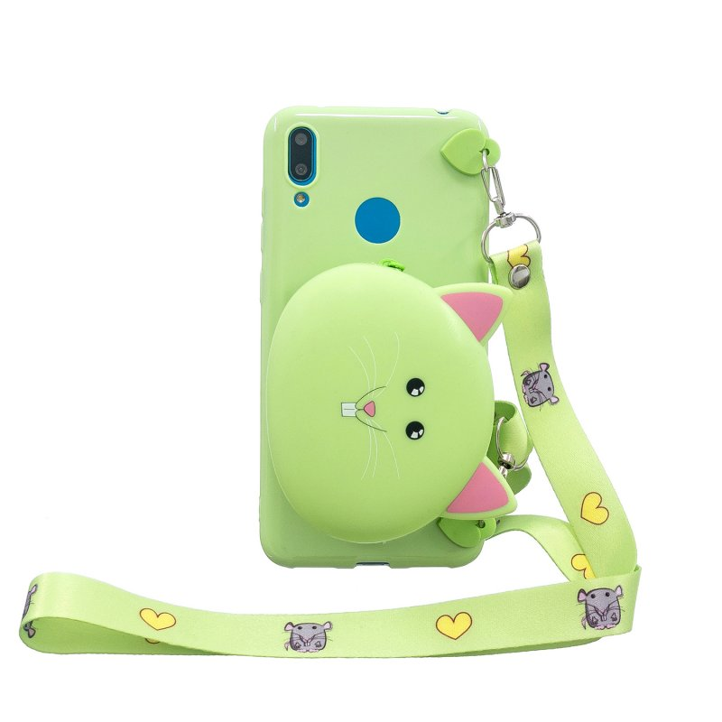 For HUAWEI Y6/Y7 Prime 2019 Cellphone Case Mobile Phone Shell Shockproof TPU Cover with Cartoon Cat Pig Panda Coin Purse Lovely Shoulder Starp  Green
