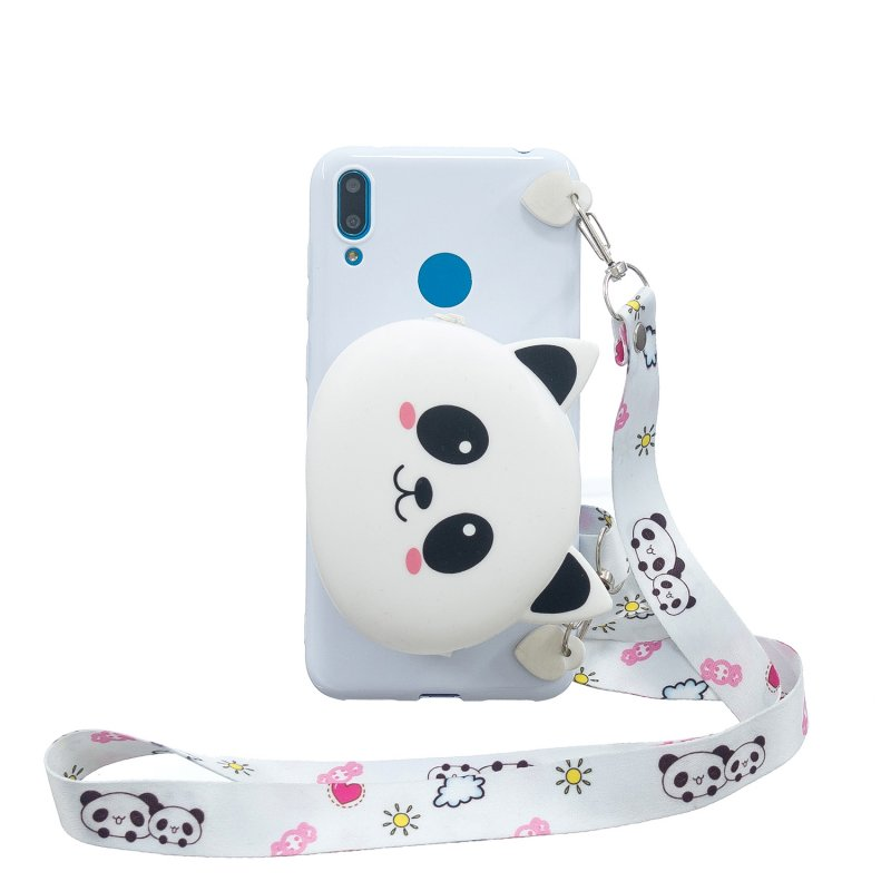 For HUAWEI Y6/Y7 Prime 2019 Cellphone Case Mobile Phone Shell Shockproof TPU Cover with Cartoon Cat Pig Panda Coin Purse Lovely Shoulder Starp  White