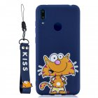 For HUAWEI Y7 2019 Cute Coloured Painted TPU Anti-scratch Non-slip Protective Cover Back Case with Lanyard sapphire