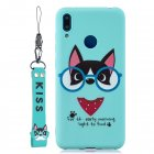 For HUAWEI Y7 2019 Cute Coloured Painted TPU Anti-scratch Non-slip Protective Cover Back Case with Lanyard Light blue