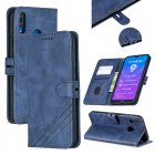 For HUAWEI Y7 2019 Denim Pattern Solid Color Flip Wallet PU Leather Protective Phone Case with Buckle & Bracket blue