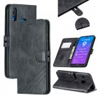 For HUAWEI Y7 2019 Denim Pattern Solid Color Flip Wallet PU Leather Protective Phone Case with Buckle & Bracket black