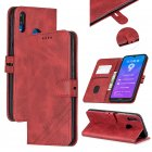 For HUAWEI Y7 2019 Denim Pattern Solid Color Flip Wallet PU Leather Protective Phone Case with Buckle & Bracket red