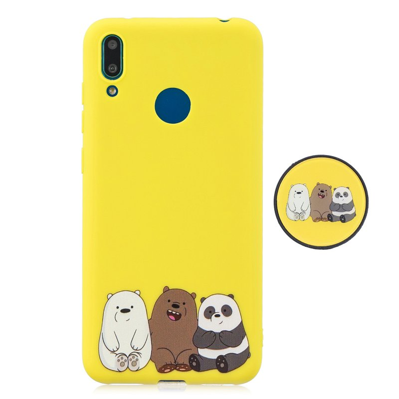 For HUAWEI Y7 2019 Flexible Stand Holder Case Soft TPU Full Cover Case Phone Cover Cute Phone Case 7