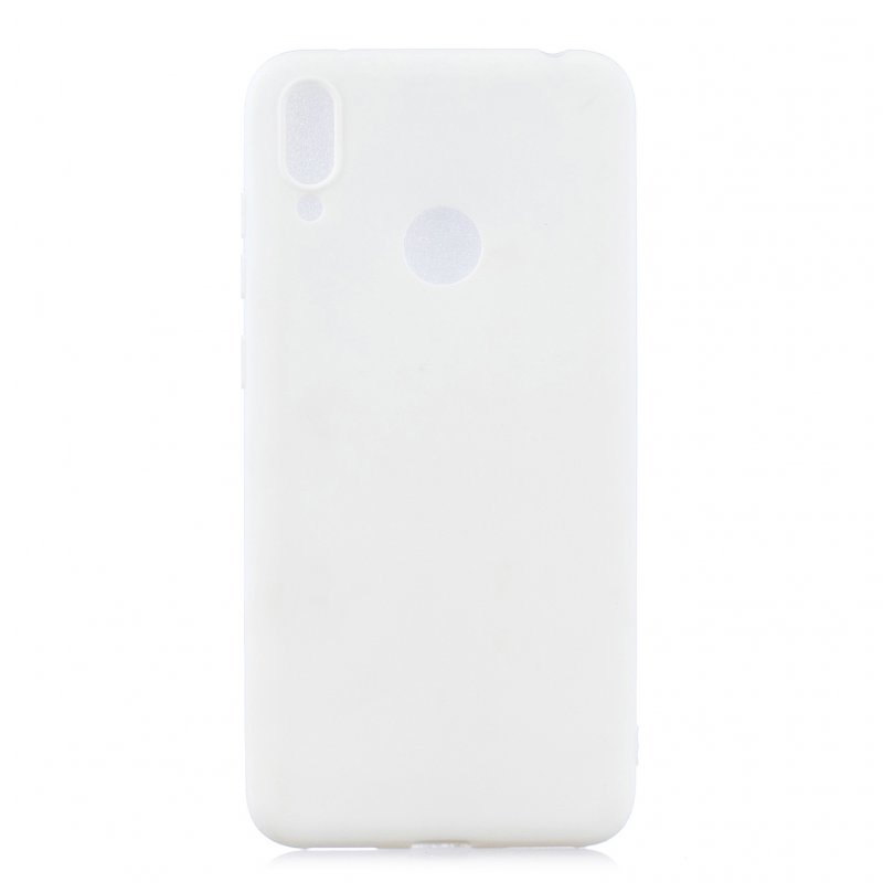 For HUAWEI Y7 2019 Lovely Candy Color Matte TPU Anti-scratch Non-slip Protective Cover Back Case white