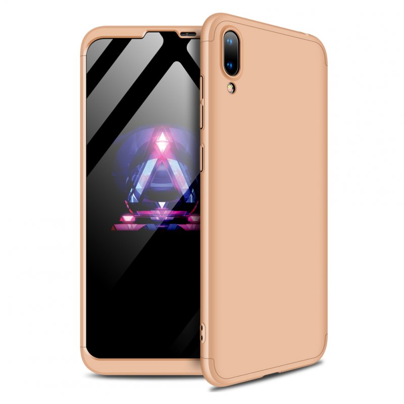 For HUAWEI Y7 2019 Ultra Slim PC Back Cover Non-slip Shockproof 360 Degree Full Protective Case gold
