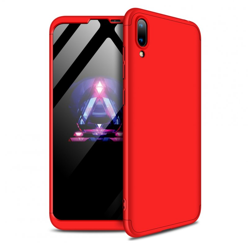 For HUAWEI Y7 pro 2019 Ultra Slim PC Back Cover Non-slip Shockproof 360 Degree Full Protective Case red
