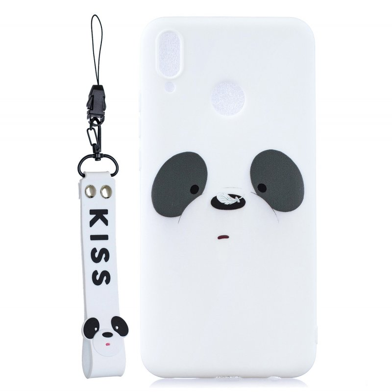 For HUAWEI Y9 2019 Cartoon Lovely Coloured Painted Soft TPU Back Cover Non-slip Shockproof Full Protective Case with Lanyard white