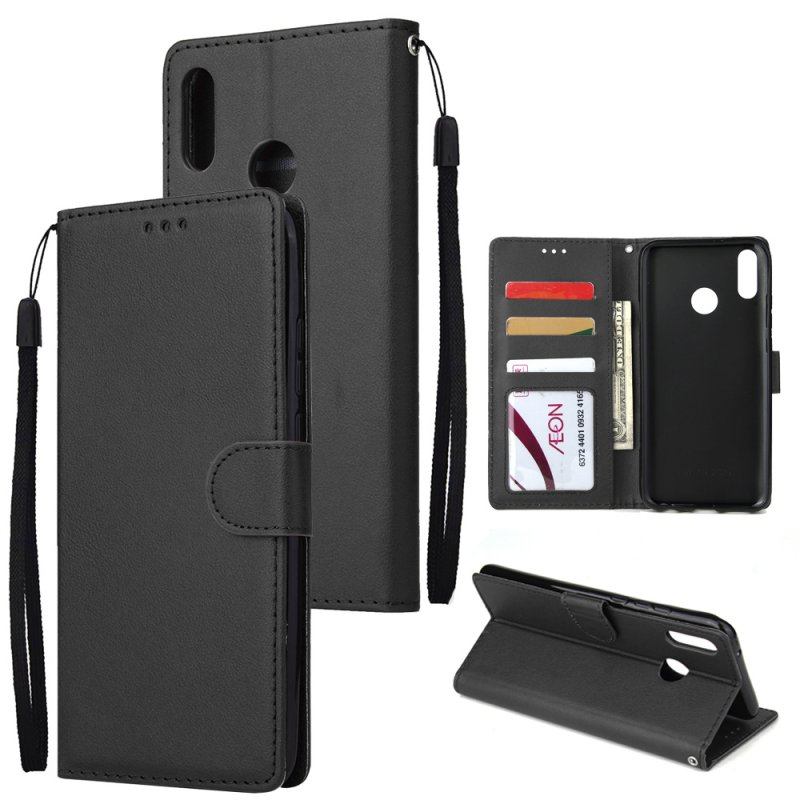 For HUAWEI Y9 2019 Flip-type Leather Protective Phone Case with 3 Card Position Buckle Design Phone Cover  black