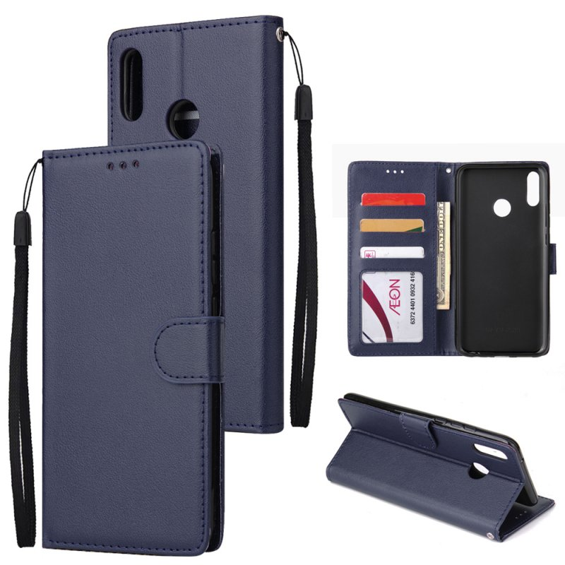 For HUAWEI Y9 2019 Flip-type Leather Protective Phone Case with 3 Card Position Buckle Design Phone Cover  blue