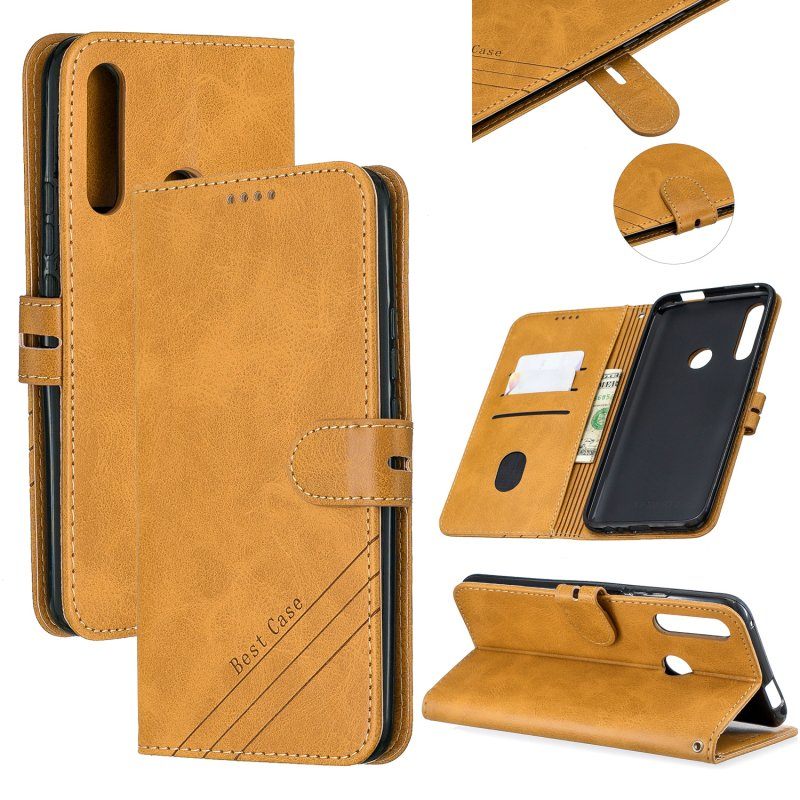 For HUAWEI Y9 Prime 2019-P Smart Z Solid Color Denim Grain Front Buckle Mobile Phone Cover Bracket yellow