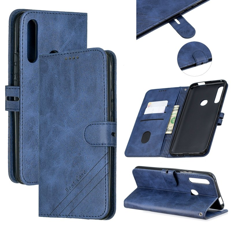 For HUAWEI Y9 Prime 2019-P Smart Z Solid Color Denim Grain Front Buckle Mobile Phone Cover Bracket blue