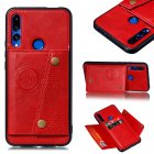 For HUAWEI Y9 prime 2019 PU Leather Shockproof Cell Phone Case Anti-dust Phone Case with Double Buckle Card Slot Pocket  red