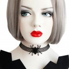 For Halloween Party Women Black Gothic Style Spider Choker Necklace Delicate Makeup Party Neckchain As shown