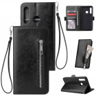 For Huawei Enjoy 9-Y7 2019-Y7 PRIME 2019 with fingerprint hole - Y7 PRO 2019 Solid Color PU Leather Zipper Wallet Double Buckle Protective Case with Stand & Lanyard black
