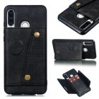 For Huawei P30 lite/nova 4E Double Buckle Non-slip Shockproof Cell Phone Case with Card Slot Bracket black