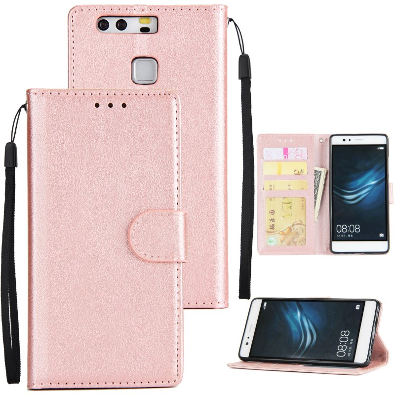 For Huawei P9 plus PU Leather Smart Phone Case Protective Cover with Buckle & 3 Card Position  Rose gold